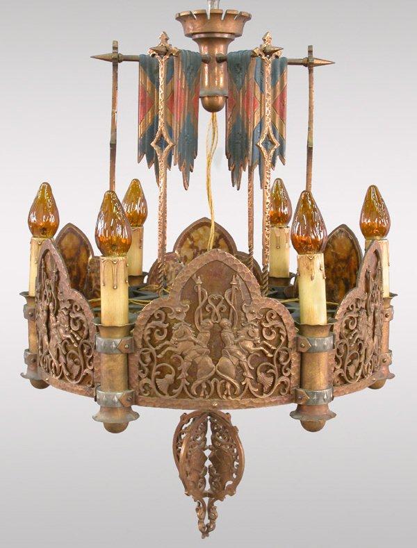 220: An unusual tudor style mixed metal chandelier