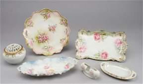 292: 6pcs. R. S. Prussia rose decorated porcelain