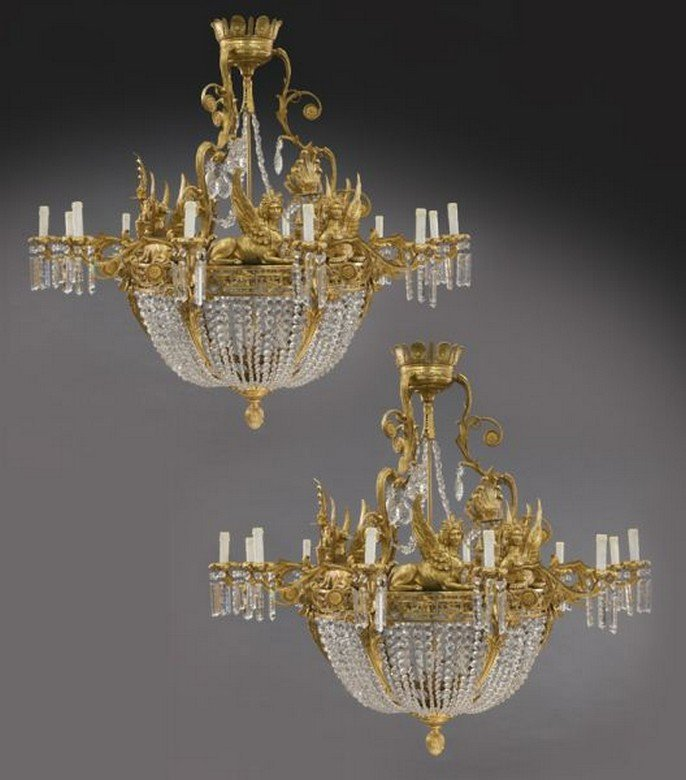 Pr. large gilt bronze and crystal chandeliers