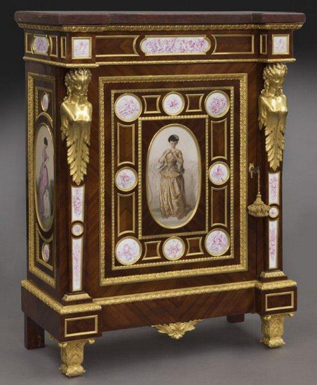 Rare signed Fourdinois porcelain mounted cabinet