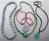 (4) Chinese jadeite necklaces and pendants