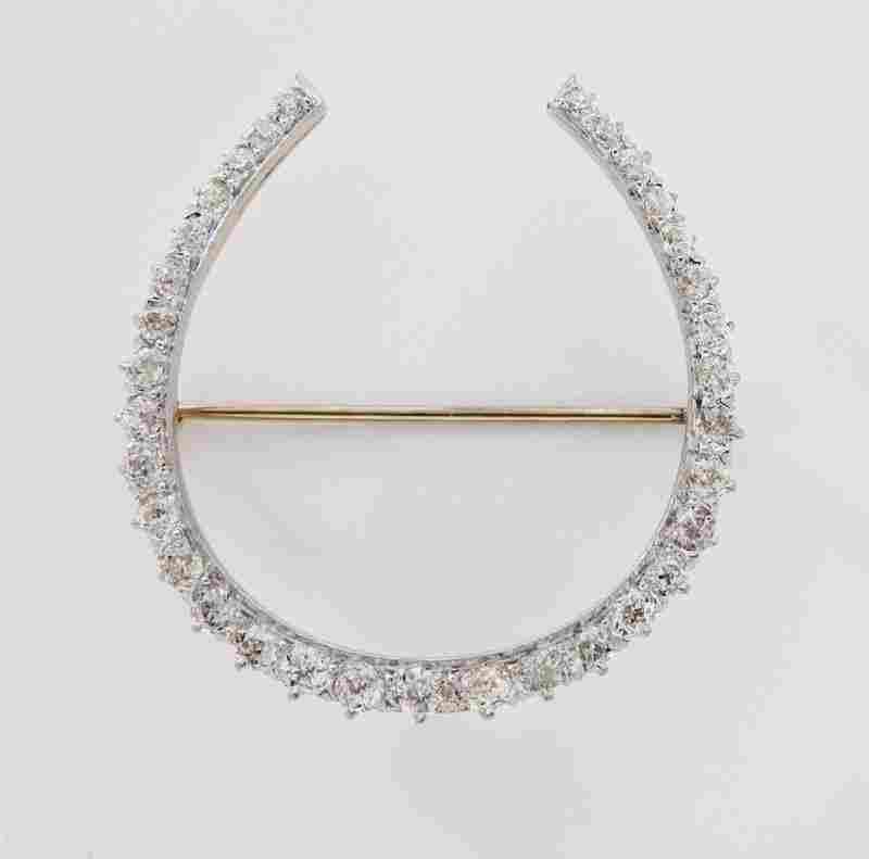 Edwardian plat., 14K rose gold & diamond horseshoe