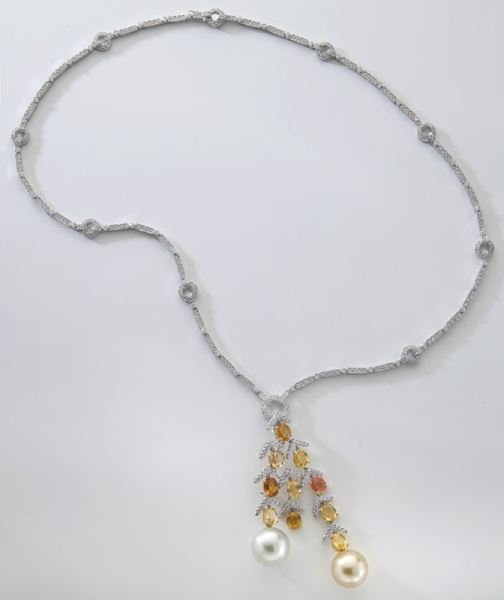 18K gold, South Sea pearl and diamond necklace