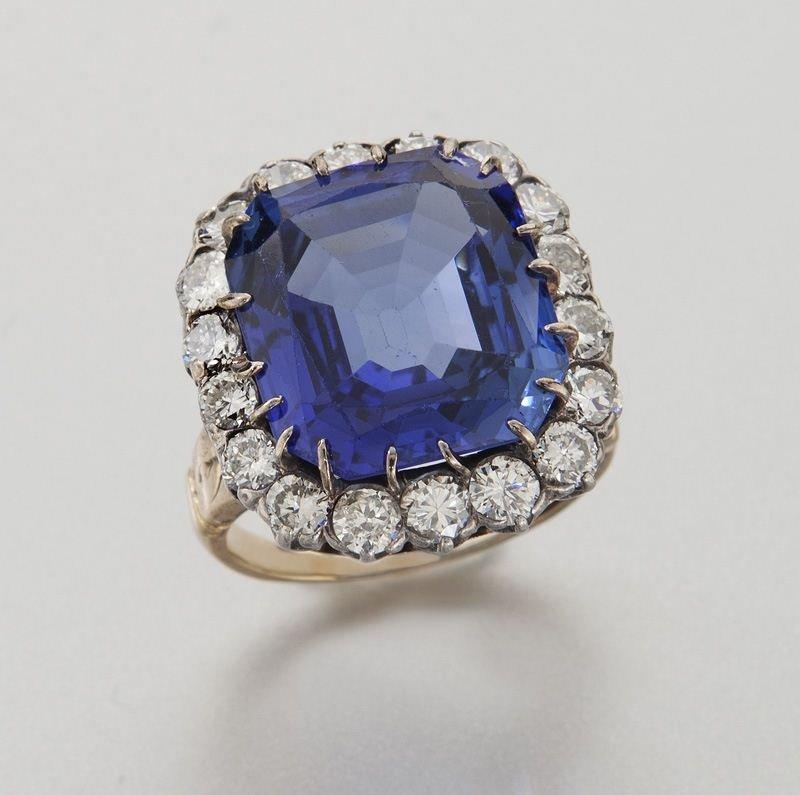 Deco 14K, natural Ceylon sapphire (AGL) & diamond