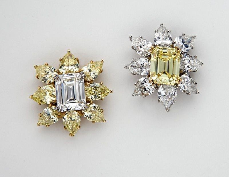 Platinum, 18K colorless and yellow diamond (GIA)
