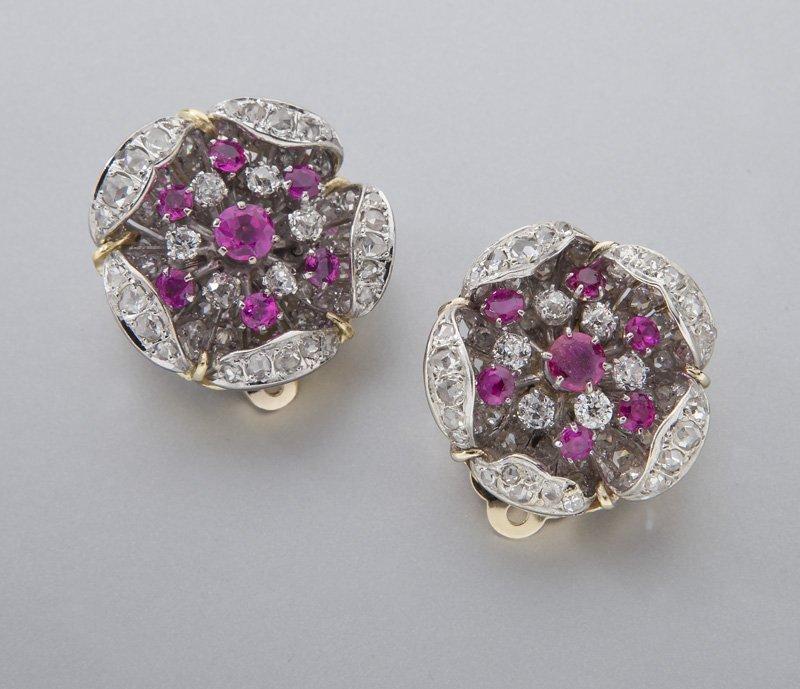 Edwardian/Deco platinum, 18K, diamond & ruby ear-