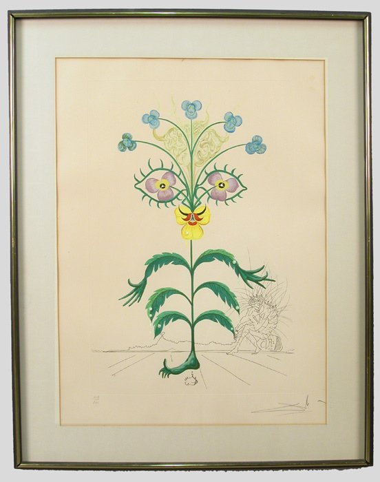 "5: Salvador Dali hand-colored etching, ""Pensee:"