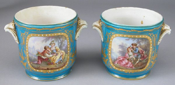 9: Pair Sevres style porcelain jardinieres