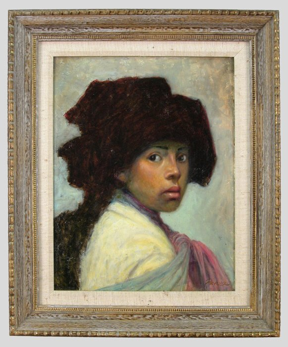 10: Jose Perez oil painting on masonite of a girl