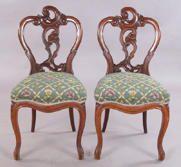 11: Pr. Victorian rosewood and mahogany parlor chairs