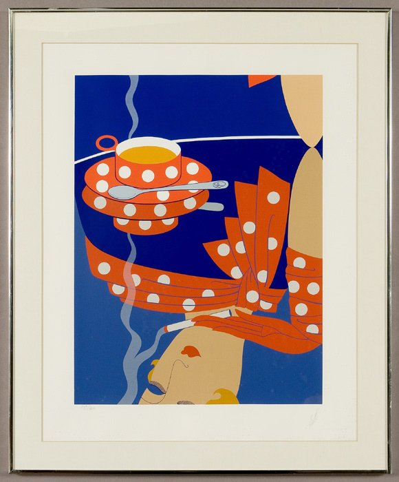 "12: Erte serigraph ""Reflections,"" depicting a woman"