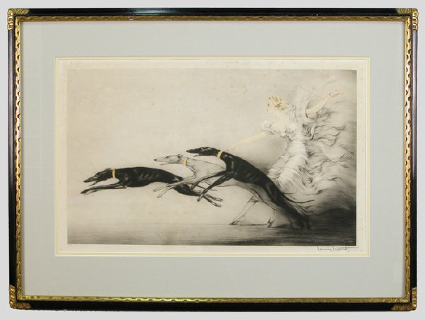 "16: Louis Icart color etching and aquatint, ""Vitesse."""