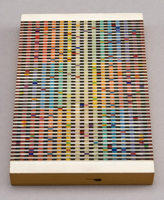 147: Yaacov Agam oil on corrugated wooden block titled,