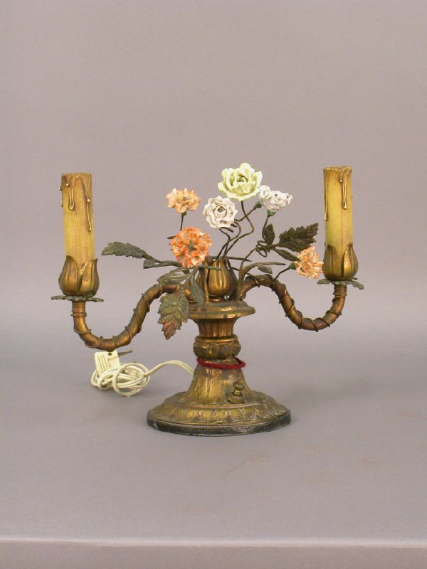 1: A vintage 2-light electrified candelabra with a