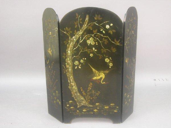 4: Chinoiserie 3-panel papier-mache fire screen