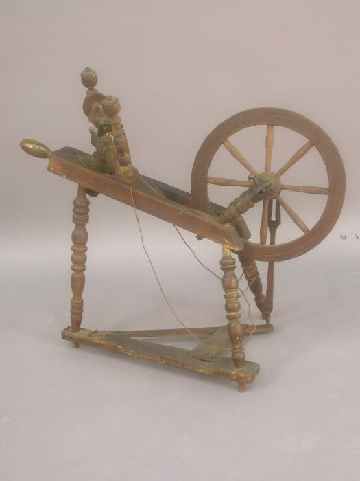 16: 19th C Wood spinning wheel with