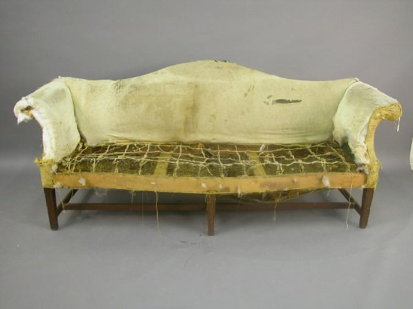 23: Chippendale style camel back rolled arm sofa
