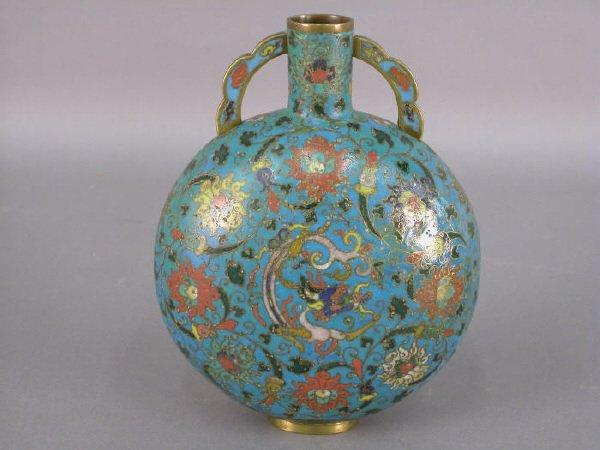 50: A Cloisonne moon flask with a floral and dragon