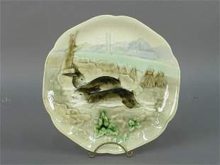 French Majolica/Barbotine plate with
