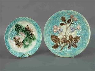 (2) English Majolica plates with similar light
