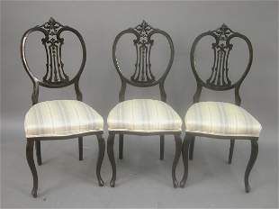 Set of three Edwardian side chairs with
