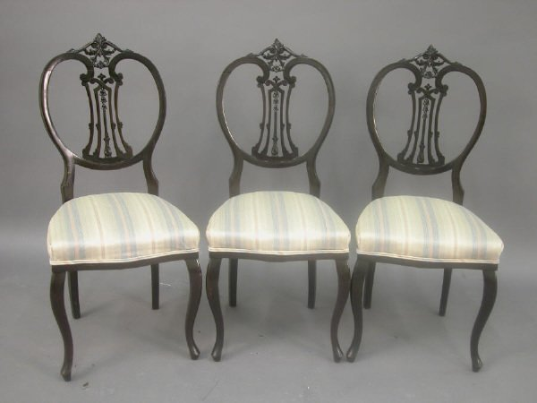 157: Set of three Edwardian side chairs with