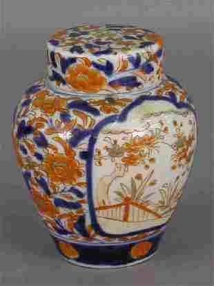 A small Imari ginger jar.