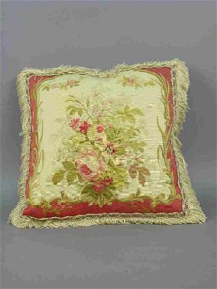 Floral Aubusson pillow with decorative
