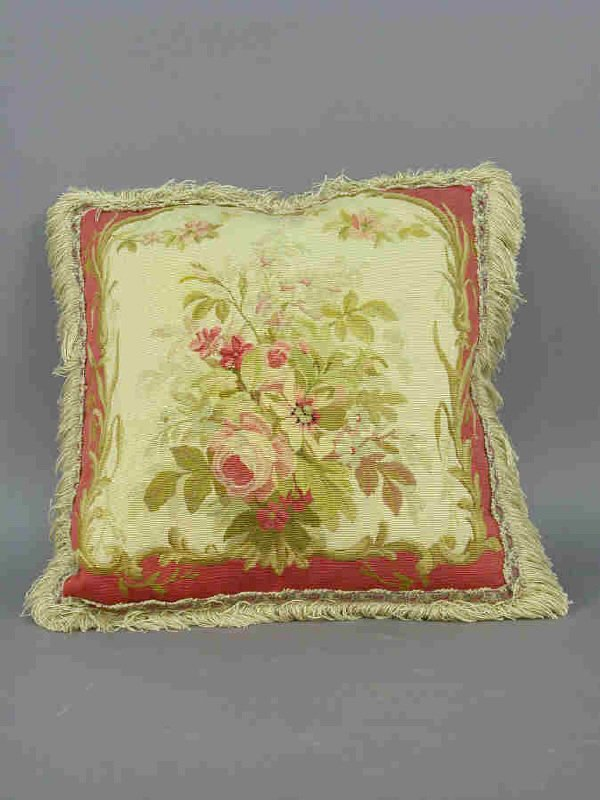 160B: Floral Aubusson pillow with decorative