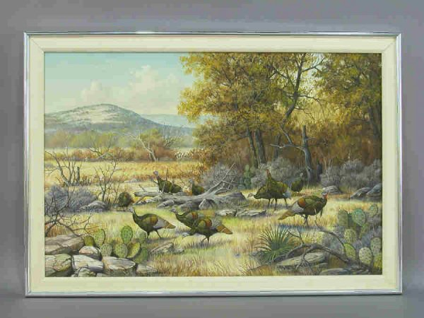 165: Signed J.W. Thrasher (LR) oil on canvas of wild