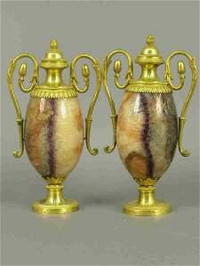 189: Pair of gilt bronze & semi-precious stone urns