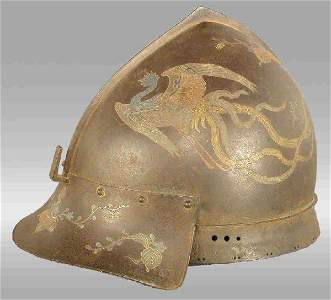 301: A Japanese armorial helmet with intricate colored