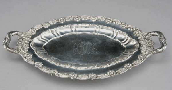 3: Tiffany sterling silver tray in the Chrysanthemum