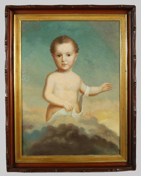 7: A Continental oil painting on canvas portrait of