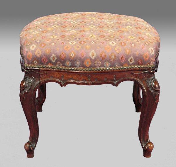 8: Louis XV style mahogany upholstered stool,