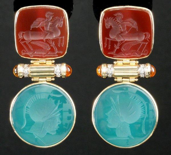 18: Pr. of 14K gold, citrine and diamond earrings