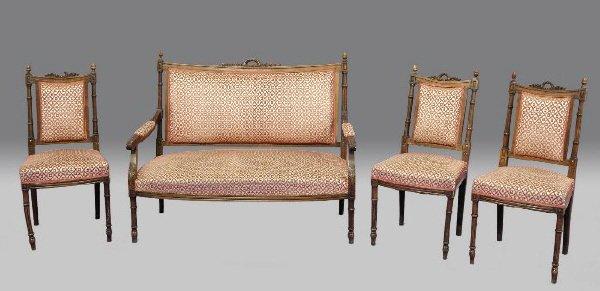 24: 4pc Louis XVI style fruitwood parlor set, a canape
