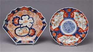 307: (2) Japanese Imari Meiji plates, fan shaped