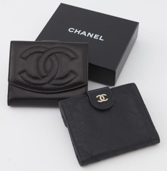 (2) Chanel black leather logo wallets