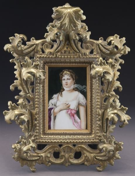 Painted porcelain plaque in an ornate Venetian