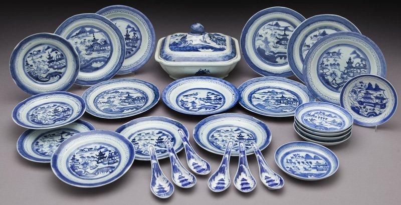 27 Pcs. Antique blue/white Canton export porcelain
