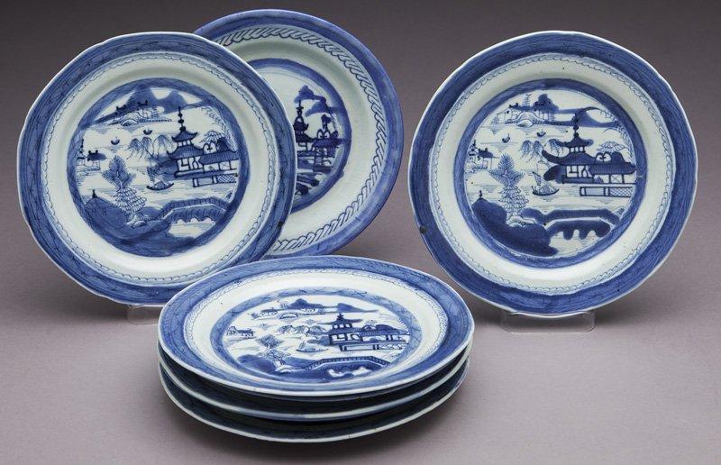 27 Pcs. Antique blue/white Canton export porcelain - 2