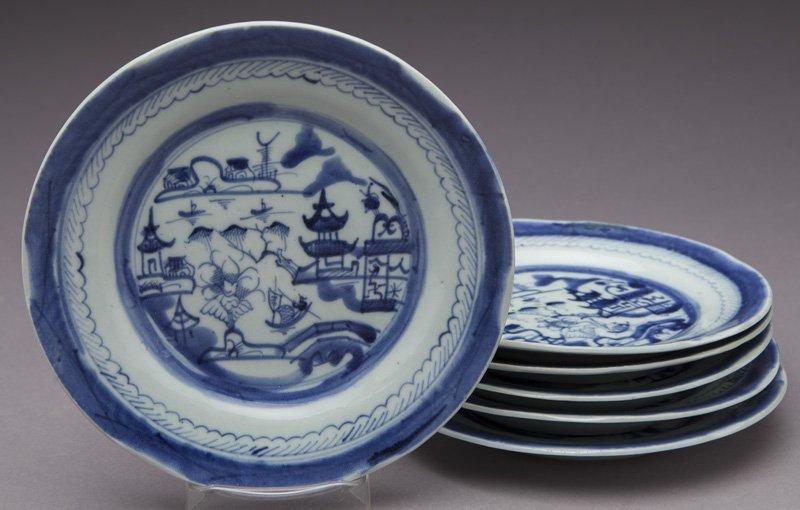 27 Pcs. Antique blue/white Canton export porcelain - 6
