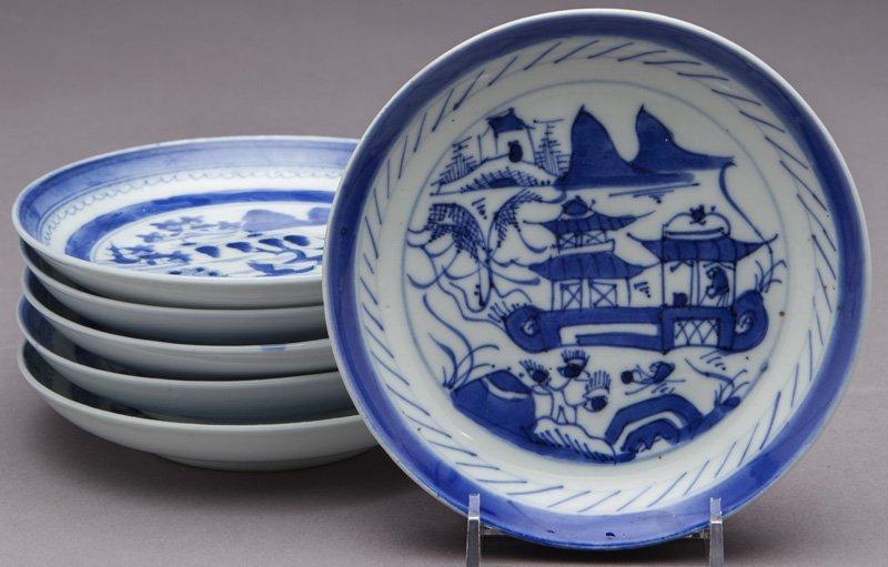 27 Pcs. Antique blue/white Canton export porcelain - 7