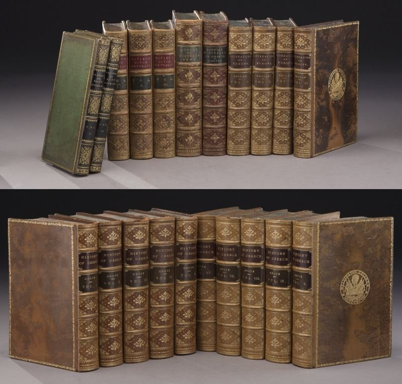 (21) Assorted full leather bound antique volumes