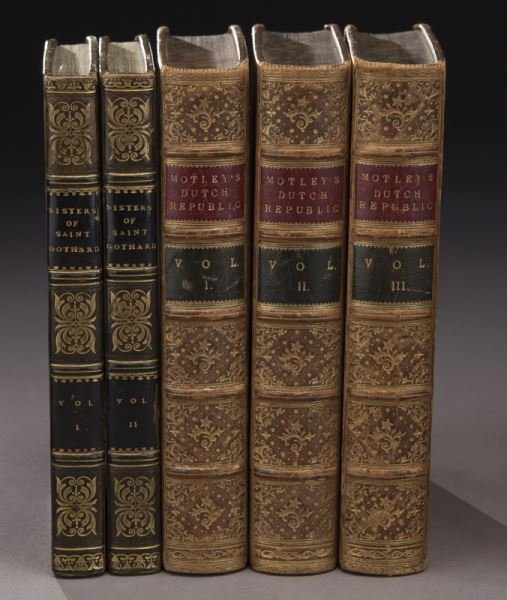 (21) Assorted full leather bound antique volumes - 2