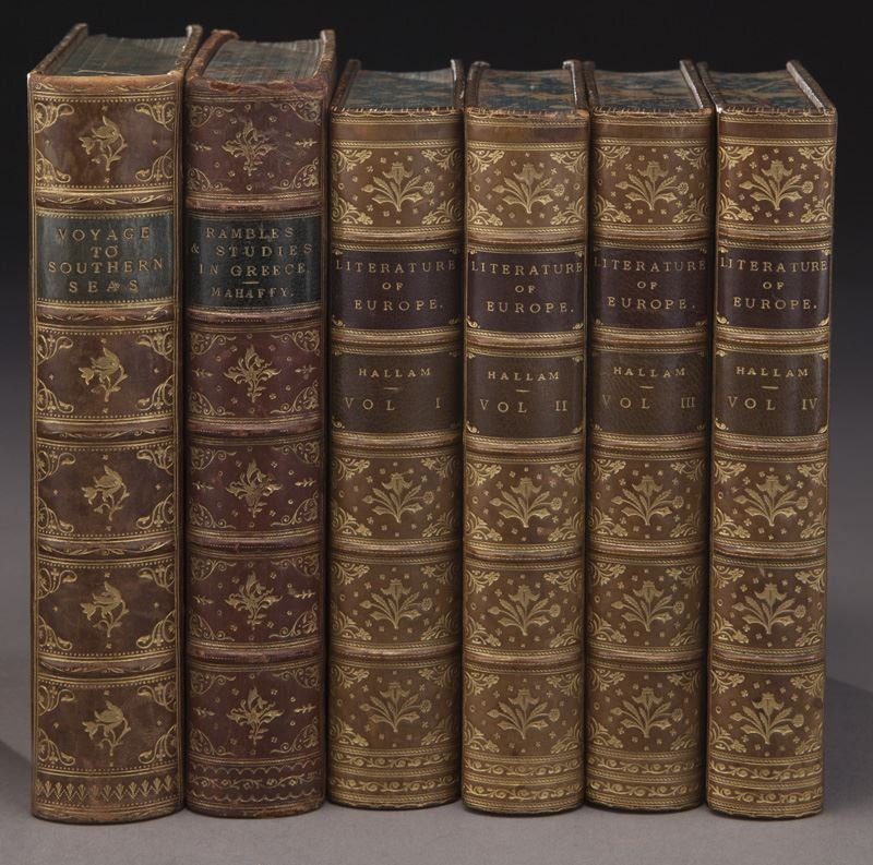 (21) Assorted full leather bound antique volumes - 3