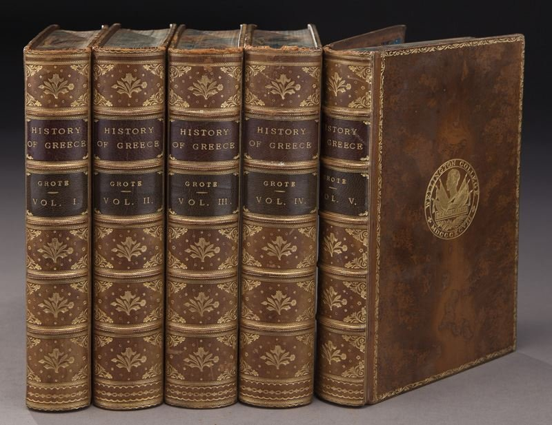 (21) Assorted full leather bound antique volumes - 4