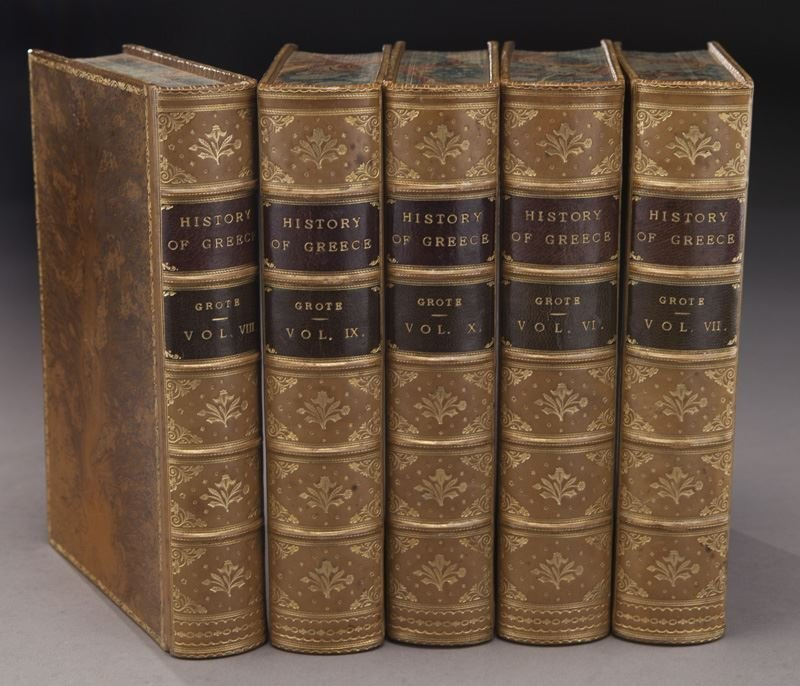 (21) Assorted full leather bound antique volumes - 5