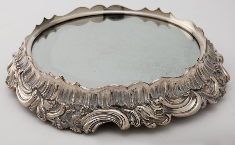 Victorian silverplate mirrored plateau,
